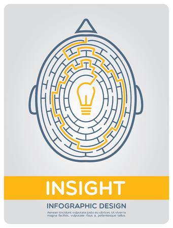laberinto: Imagen del cerebro en el estilo de infografía expresando manera intrincada a la visión