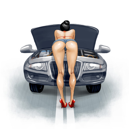 accident woman: Sexy girl repairs the car on the road