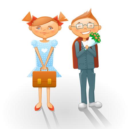 september 1: Cartoon school kids  Boy and girl going to school on September 1