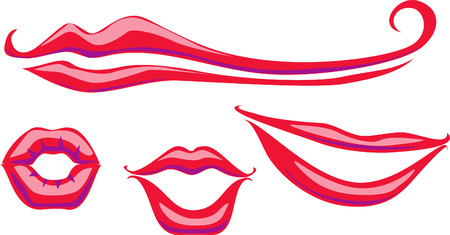 Set of retro lips Stock Vector - 8363655