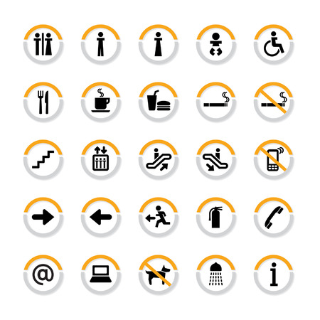 Pictogram set for indoor use in in semicircles with shadow