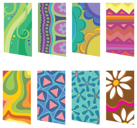 retro patterns: 8 colorful tags with retro patterns