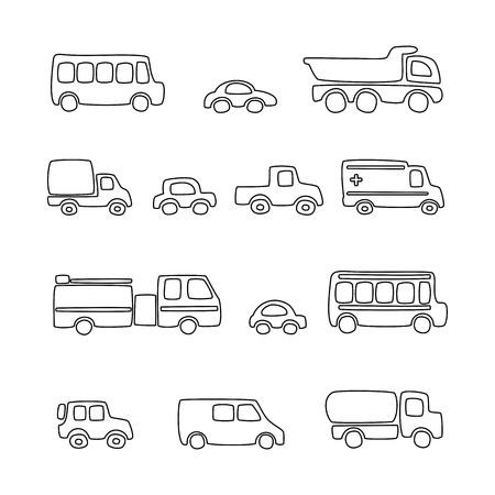Vector Illustration of cartoon car set - coloring book.