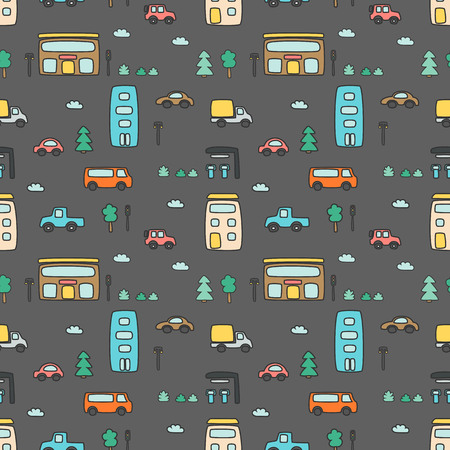 Seamless pattern with hand drawn city print. Cartoon skyscraper, cars, trees, traffic light. Vector illustration. Perfect for kids fabric, textile, nursery wallpaper. Vectores