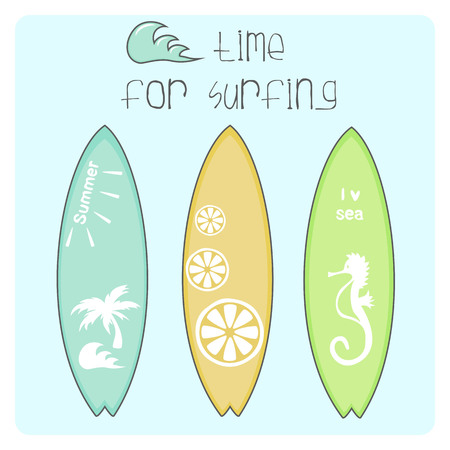Cute summer card. Beautiful summer poster with surfboards and hand written text. Journal card. Surfing poster background. Vector illustration.