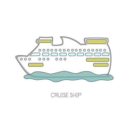 Cruiser ship vector illustration.