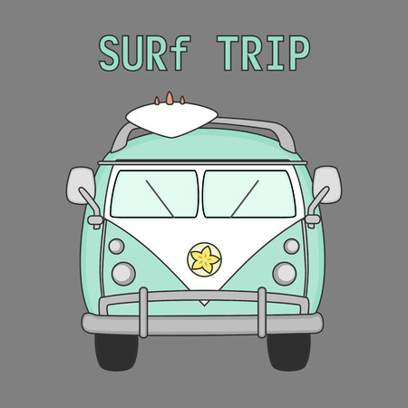 Retro surf van with surf board. Travel bus family camper with surf board. Vector illustration.