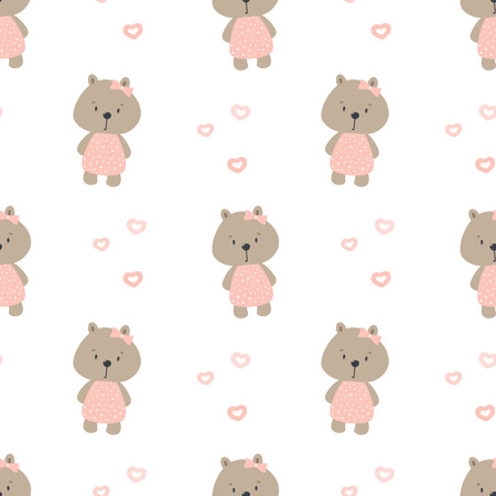 Seamless pattern with cute bear. Vector print for child.