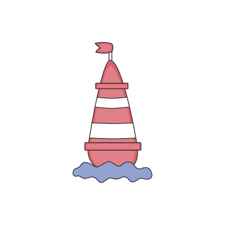 Flat color design vector icon for red sea buoy with flag in water on white background. Vector illustration. Иллюстрация