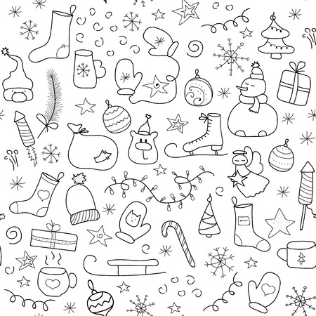 Christmas icons seamless pattern, Happy Winter Holiday tile background. Doodle outline ornamental design elements Illusztráció