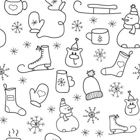 Christmas icons seamless pattern, Happy Winter Holiday tile background. Doodle outline ornamental design elements Illusztráció