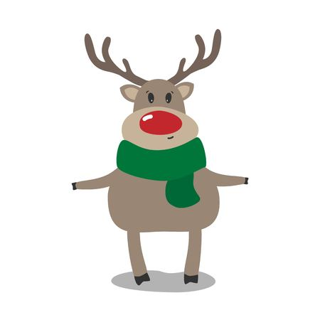 Christmas raindeer With Red Nose. Vector illustration.