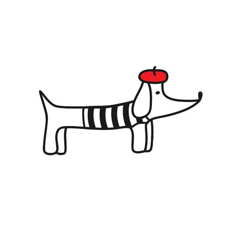French style dog. Cute cartoon parisian dachshund vector illustration. Beret and striped frock. Ilustrace