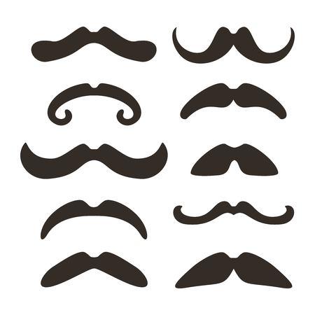 Ensemble de moustaches différentes. Illustration vectorielle.