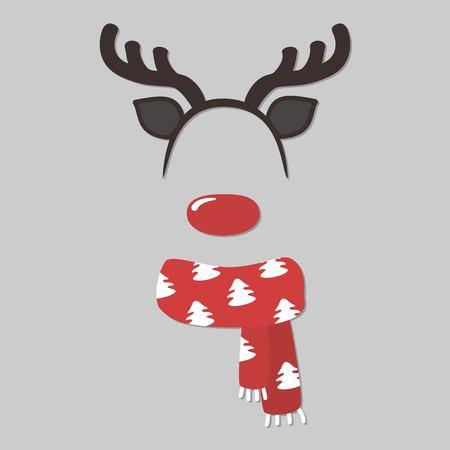 Santa Clauss reindeer face element or carnival mask. Christmas video filter photo. Vector illustration. Illustration