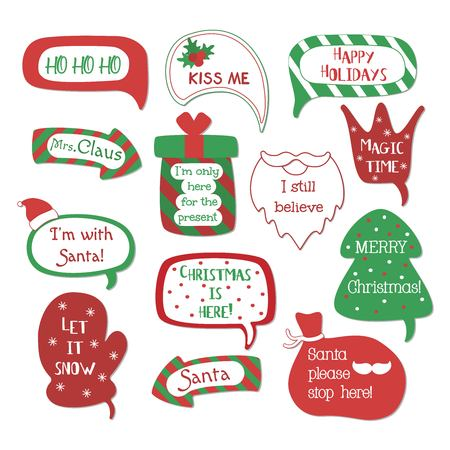 Holiday speech bubbles set with christmas greetings: merry christmas, happy holiday, let it snow etc. Vector illustration.