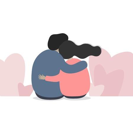 Pareja enamorada. Hombre y mujer abrazándose cariñosamente. Personajes para la fiesta de San Valentín. Ilustración de vector de estilo de dibujos animados. Ilustración de vector