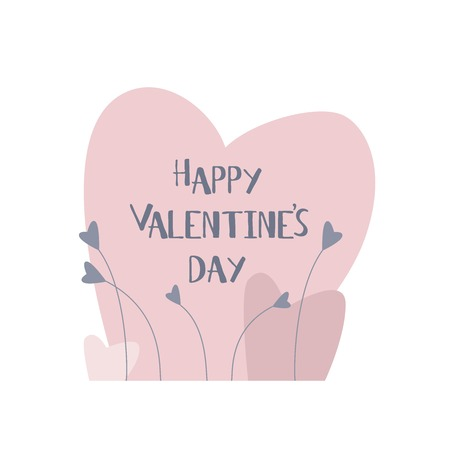 Valentines day card. Happy Valentines day text. Vector illustration.