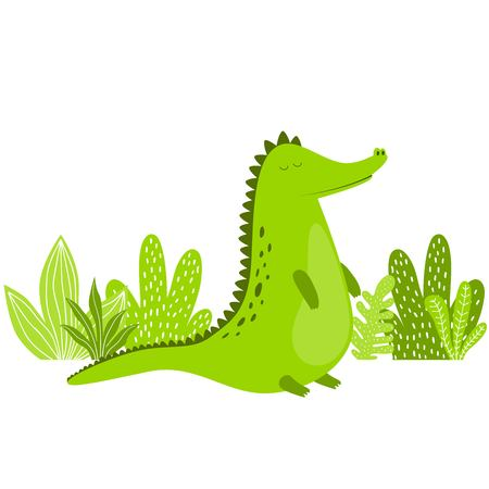 Alligator. Cute crocodile. Funny cartoon animal. Vector illustration.