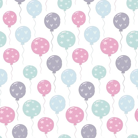 Seamless pattern with colorful balloons. Vector illustration.