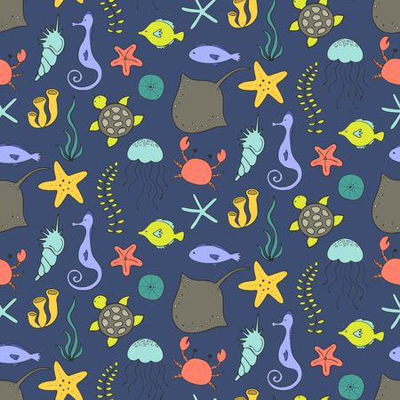Seamless pattern with cartoon marine items. Vector illustration.