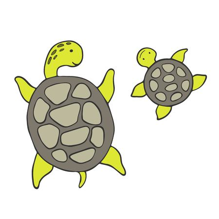 Cartoon sketch turtles on a white background. Vector illustration.