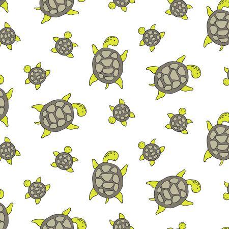 Seamless pattern with cute sea turtle. Vector illustration. Illustration