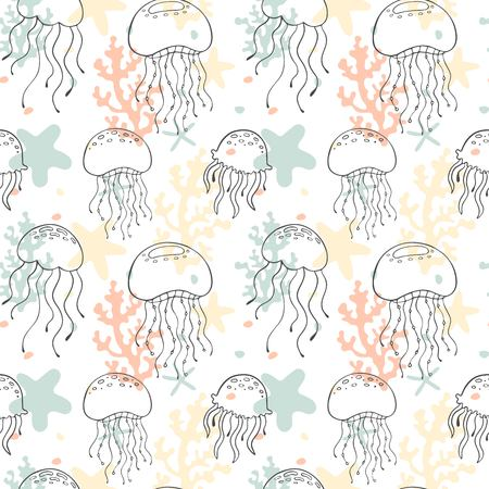 Seamless pattern with cartoon jellyfishes. Vector illustration.