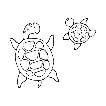 Cute sea turtles. Vector black and white outline illustration for coloring book.