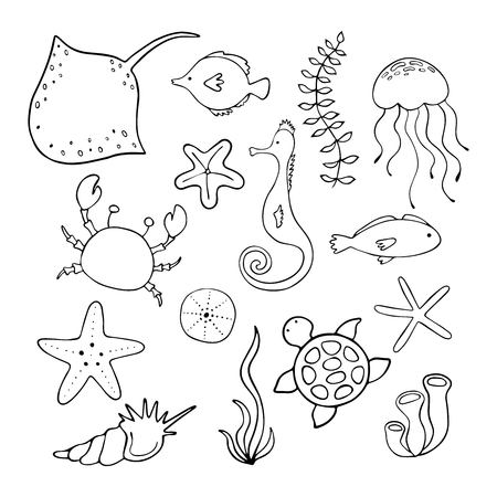 Vector set of hand drawn ocean creatures. Ocean marine world. For children fashion and stationery, nursery, scrapbooking, home decor and textile, surface design. Illustration