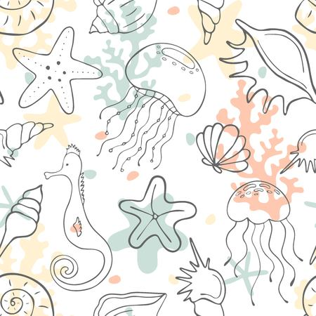 Seamless pattern with seashells, corals, jellyfishes, seahorses and starfishes. Marine background. Perfect for greetings, invitations, wrapping paper, textile, wedding and web design.