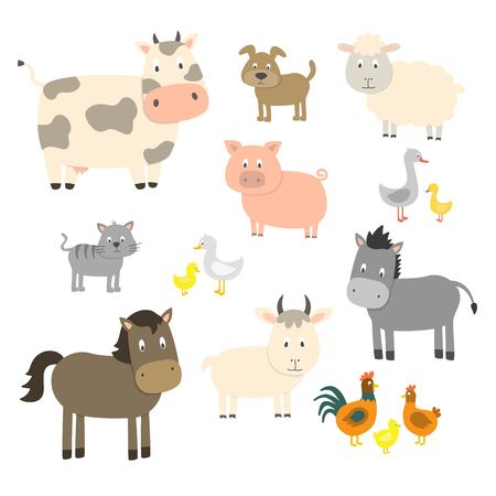 Farm animals set isolated on white background, vector illustration. Cute cartoon animals collection: sheep, goat, cow, donkey, horse, pig, cat, dog, duck, goose, chicken, hen, rooster. Banque d'images - 125070834