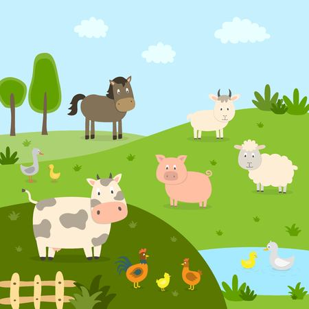 Farm animals with landscape - cow, pig, sheep, horse, rooster, chicken, duck, hen, goose. Cute cartoon vector illustration in flat style.
