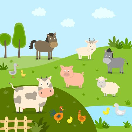 Farm animals with landscape - cow, pig, sheep, horse, rooster, chicken, donkey, hen, goose. Cute cartoon vector illustration in flat style. Banque d'images - 125070851
