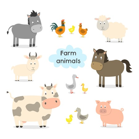 Farm animals set isolated on white background, vector illustration. Cute cartoon animals collection: sheep, goat, cow, donkey, horse, pig, cat, dog, duck, goose, chicken, hen, rooster.