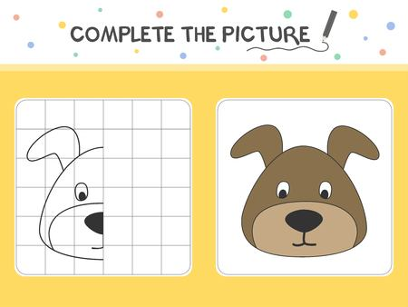 Complete the picture of a dog. Copy the picture. Coloring book. Educational game for children. Cartoon vector illustration.