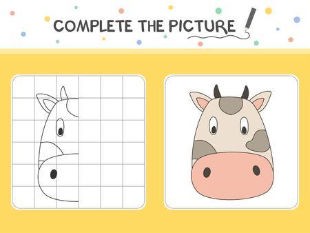 Complétez l'image d'une vache. Copiez l'image. Livre de coloriage. Jeu éducatif pour les enfants. Illustration vectorielle de dessin animé.