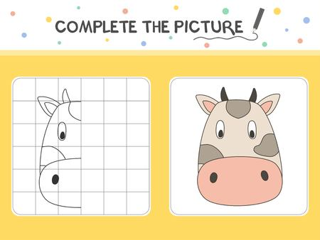 Complete the picture of a cow. Copy the picture. Coloring book. Educational game for children. Cartoon vector illustration.