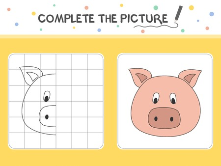 Complete the picture of a pig. Copy the picture. Coloring book. Educational game for children. Cartoon vector illustration. 向量圖像
