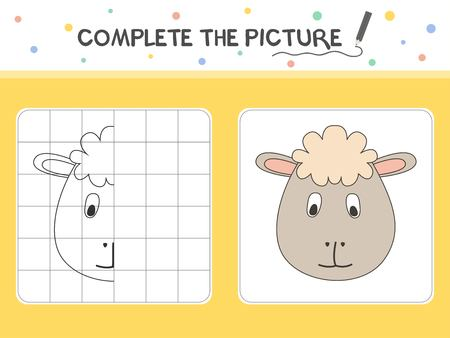 Complete the picture of a sheep. Copy the picture. Coloring book. Educational game for children. Cartoon vector illustration. 向量圖像