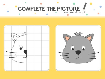 Complete the picture of a cat. Copy the picture. Coloring book. Educational game for children. Cartoon vector illustration. 向量圖像
