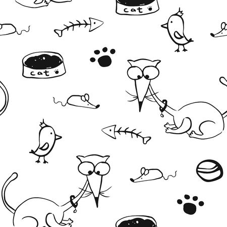 Cute handdrawn cats, paws, birds, mouses and fish skeletons. Fabric for kids' apparel.