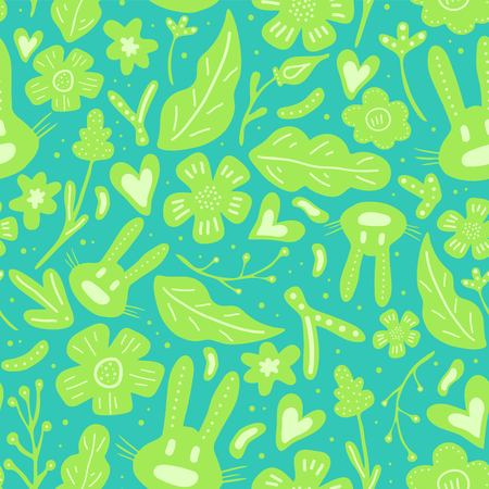 Spring flowers. Vector seamless pattern with flowers, leaves and rabbits. Fresh pattern for home decor. Seamless pattern can be used for fills, web page background, surface textures.