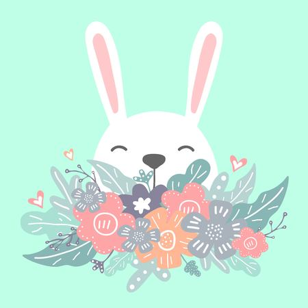 Cute flowers with flowers, leafs and hearts. Lovely spring card. Happy Easter.