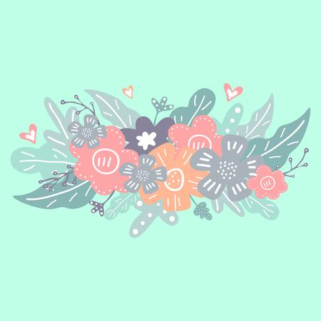 Floral hand drawn design elements. Pastel abstract flowers and leaves pattern. Spring print for posters and greeting cards.