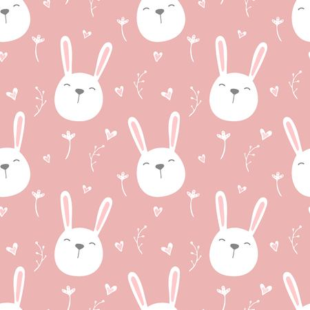 Seamless pattern of cute white bunnies on pink background with floral elements. Vector illustration.