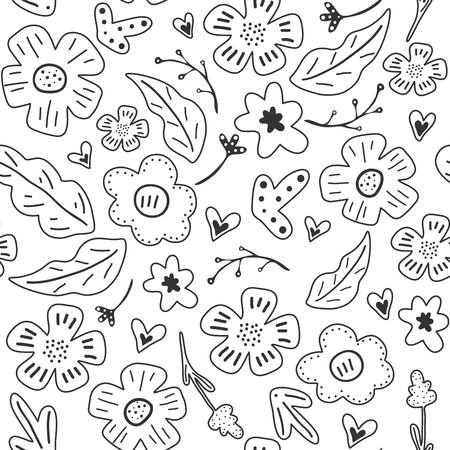 Spring flowers. Vector seamless pattern with flowers, leaves and hearts. Fresh pattern for home decor. Seamless pattern can be used for fills, web page background, surface textures. 向量圖像