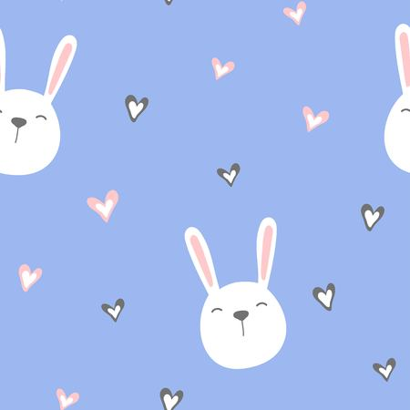 Seamless pattern of cute white bunnies on blue background with hearts. Vector illustration.