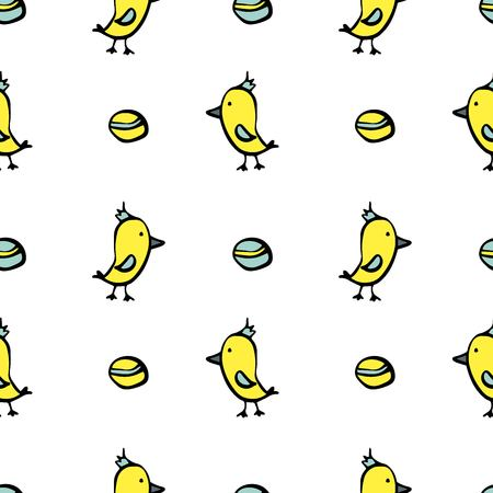 Seamless pattern of yellow parrot on white background with balls. Vector illustration.