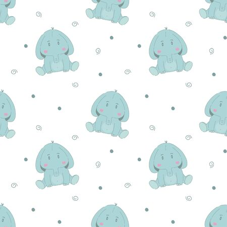 Cute elephant cartoon baby seamless vector pattern. Funny kid animal repeat background for wallpaper and wallpaper design.